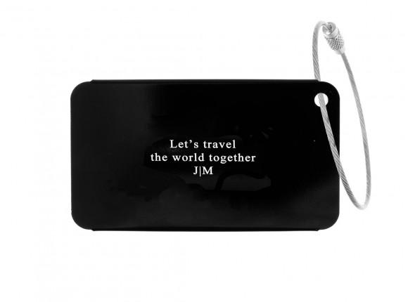 Kofferlabel met Tekst Zwart
