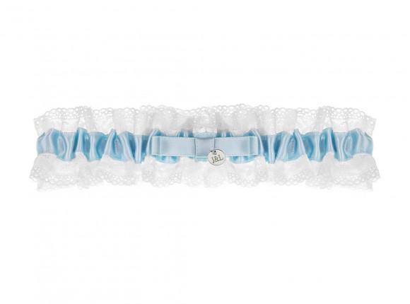Blauwe kousenband bruid personaliseren
