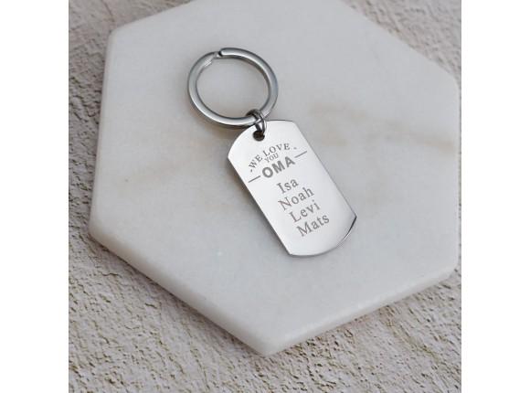 Sleutelhanger met naam - We love you oma!