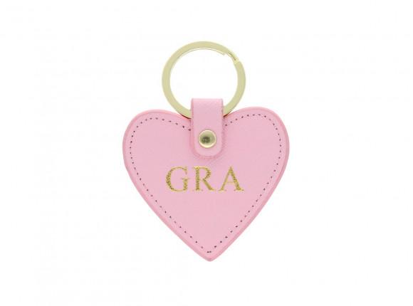 Sleutelhanger hartje personaliseren roze