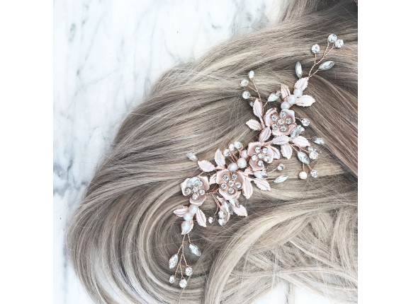 Rose Crystal Hair Comb