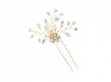 Rose Crystal Haar Pin