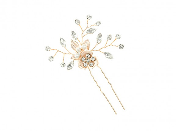 Rose Crystal Haar Pin