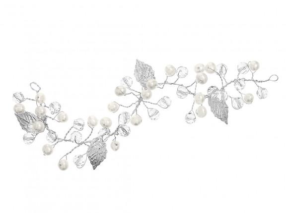 Haarjuweel DRKS met parels en blaadjes in het zilver