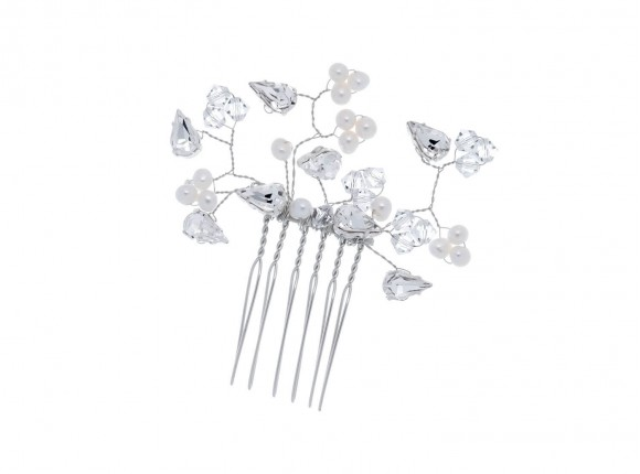 Crystal & Pearl Comb small