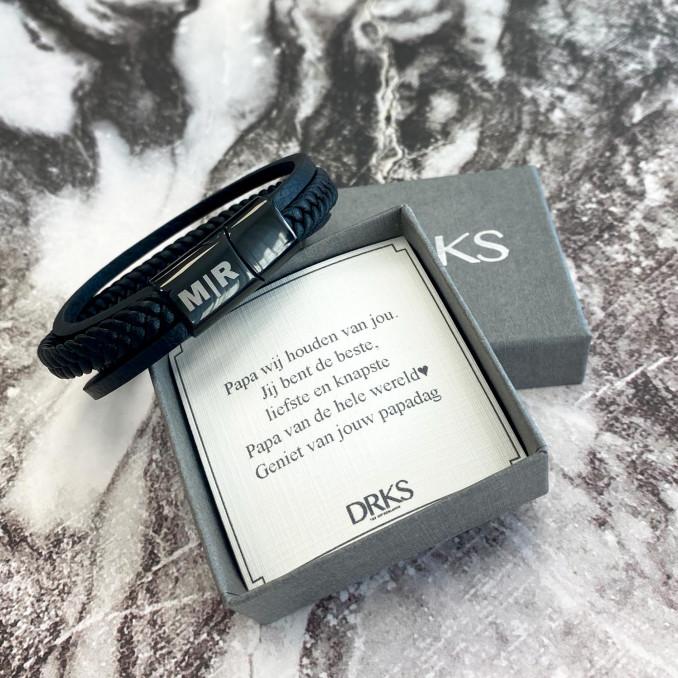 Heren armband met sieradendoosje en persoonlijke tekst