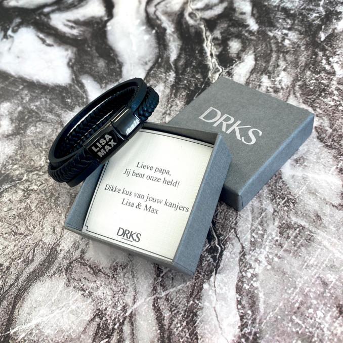 Armband voor mannen met sieradendoosje en persoonlijke tekst