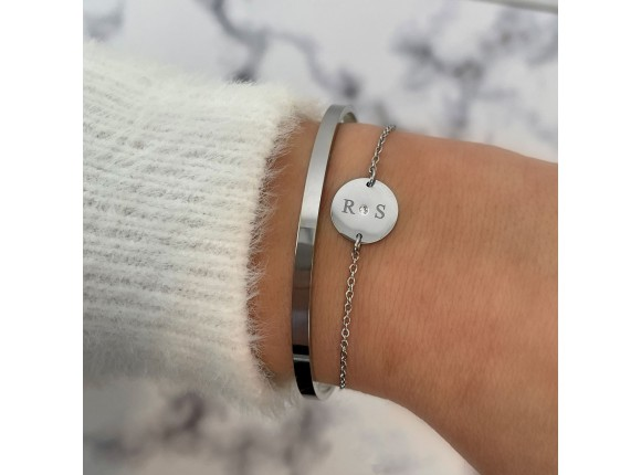 Armband 2 initialen steentje
