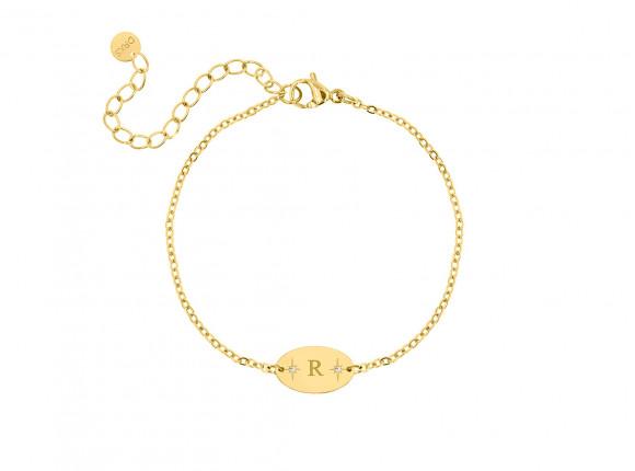 Initial armband ovaal goud kleurig