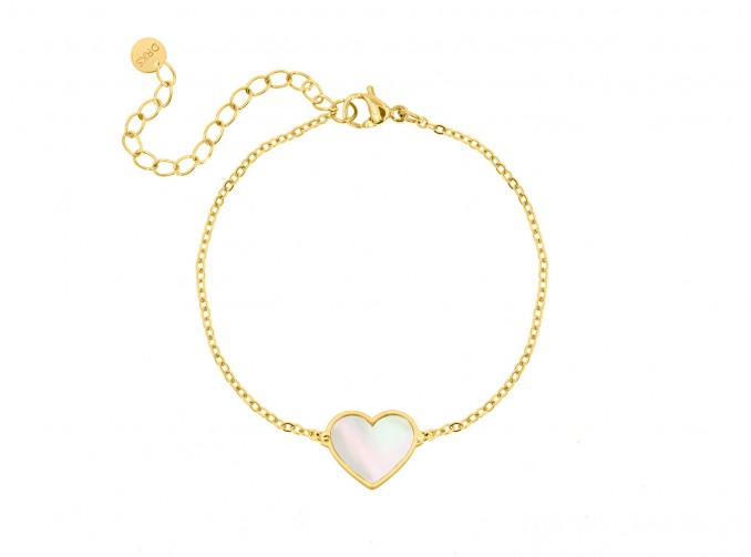 Armband sea shell hartje goud kleurig