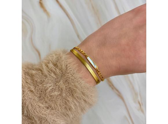 Armband parelmoer bar kleur goud