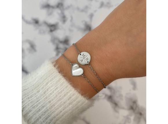 Armband 3 initialen steentje