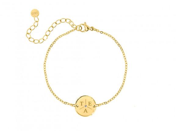 Armband 3 initialen steentje kleur goud
