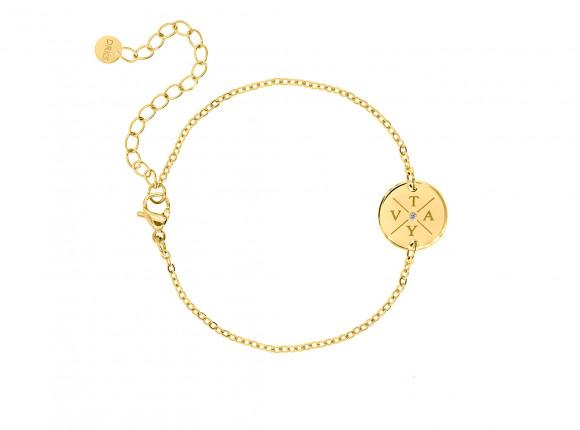 Armband 4 initialen steentje kleur goud