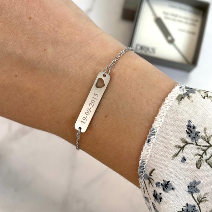 graveerbare bar armband met hartje