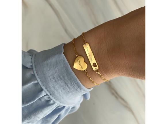 Bar armband met hartje graveren kleur goud