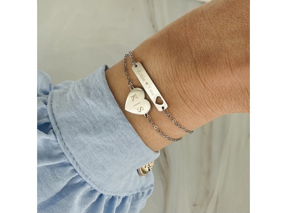 Bar armband met hartje graveren