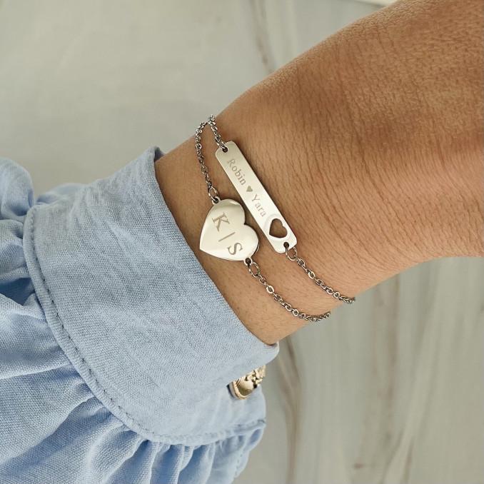 Zilveren armbanden combinatie met gravering