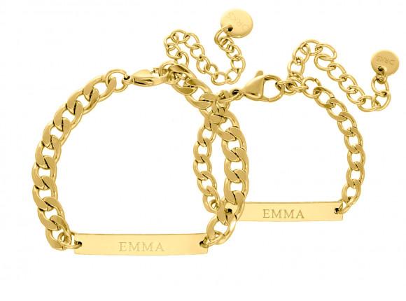 Moeder & Kind armband graveerbaar goud kleurig