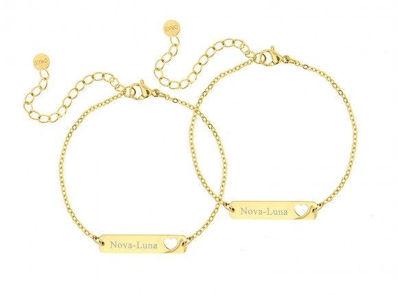 Moeder & dochter armband graveerbare bar goud kleurig