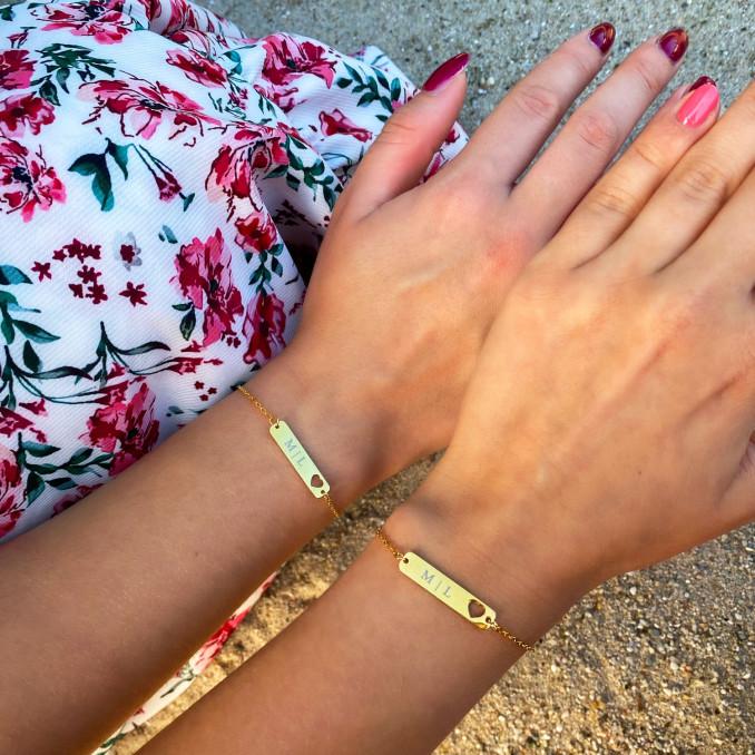 Hartjes bar armbandjes in het zilver voor moeder en dochter