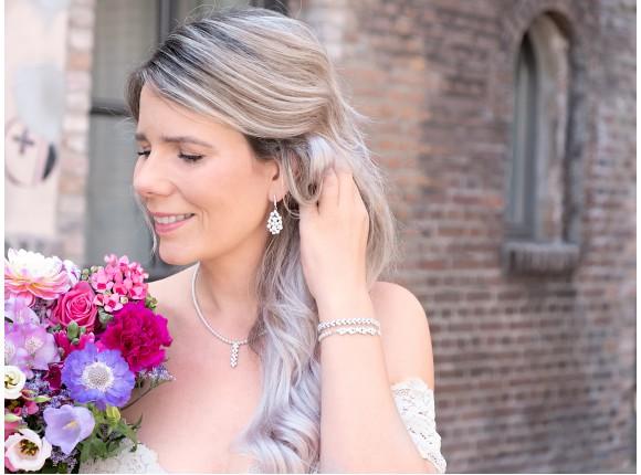 Bruids oorbellen met Parels en Steentjes