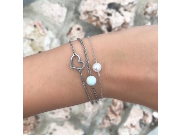 Armband hartje zilver