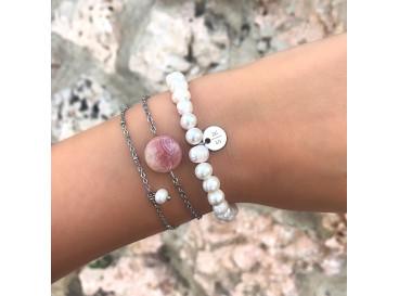 Minimalistische Armband met Pareltje Zilver