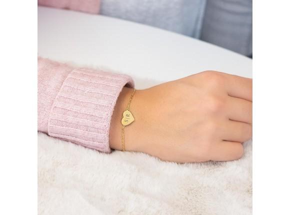 Hartjes armband graveren goud kleurig
