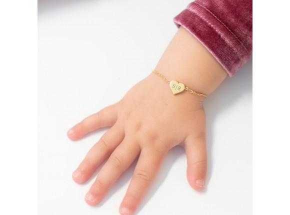 Baby naam armband hartje goud