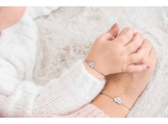 Moeder & Dochter Armband Graveerbare Hartjes