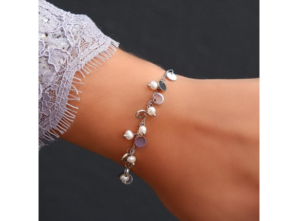 Parel Armband met Muntjes Zilver