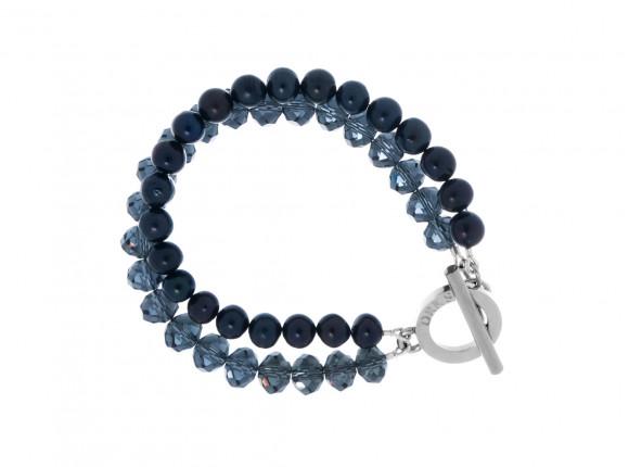 Parel Armband Dubbel Donkerblauw