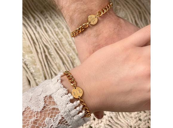 Couple schakelarmband graveerbaar goud