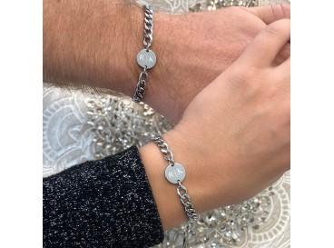 Couple schakelarmband graveerbaar zilver