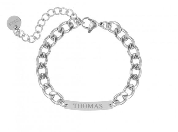Mannen naam armband zilver