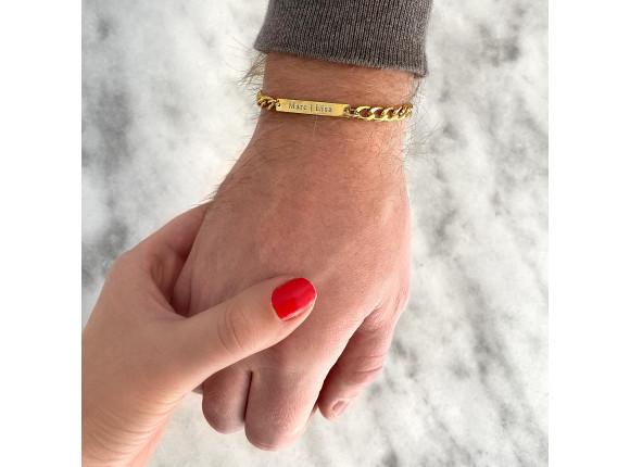Mannen naam armband goud