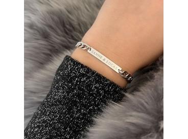 Naam schakelarmband zilver
