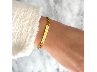 Naam schakelarmband goud