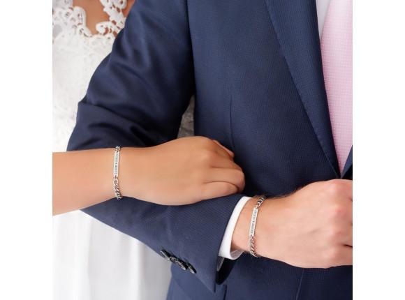Graveerbare Schakelarmband Couple Zilver