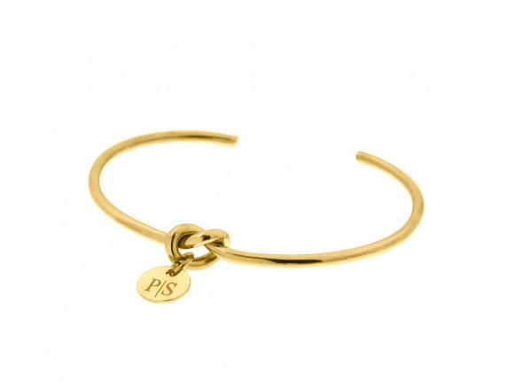Knoop Armband met Graveerbaar Muntje Goud