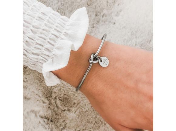 Knoop Armband met Graveerbaar Muntje Zilver