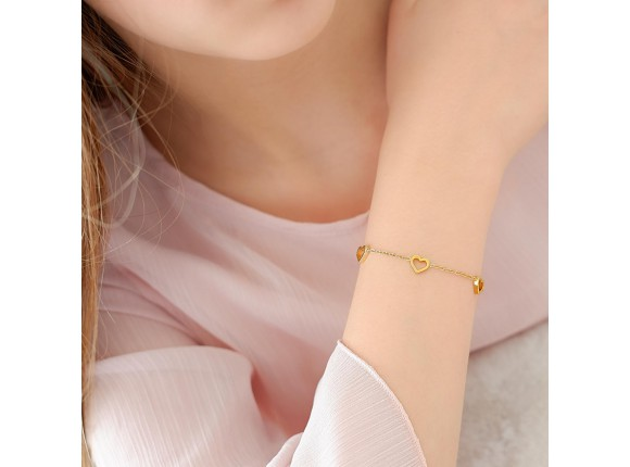 Hartjes armband kind goud