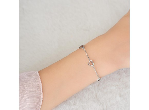 Hartjes armband kind zilver