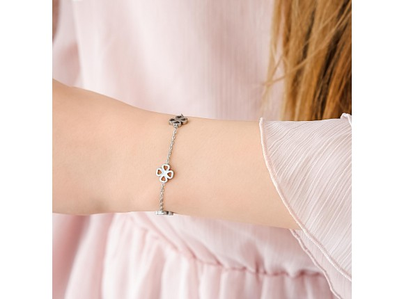 Kinder Armbandje met Klavertjes Zilver