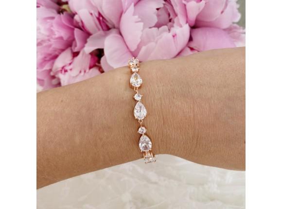 Bruids armband met steentjes rose verguld