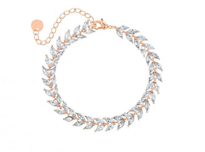Armband voor de bruid met steentjes rose verguld