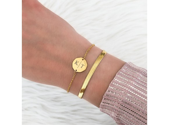 Twee initialen armband gold plated
