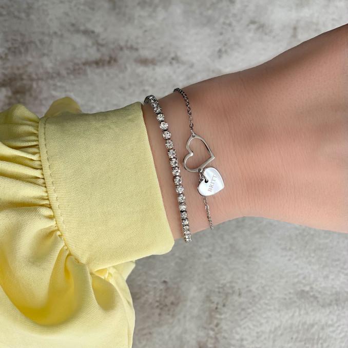 Mix van tennis armband en hartjes armband