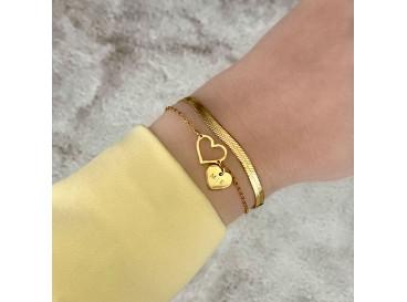 Plat armbandje gold plated